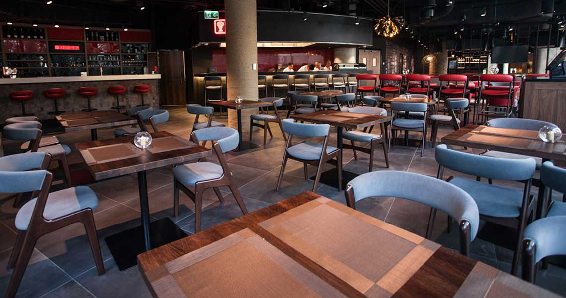 tables and chairs at Benihana restaurant in Warsaw