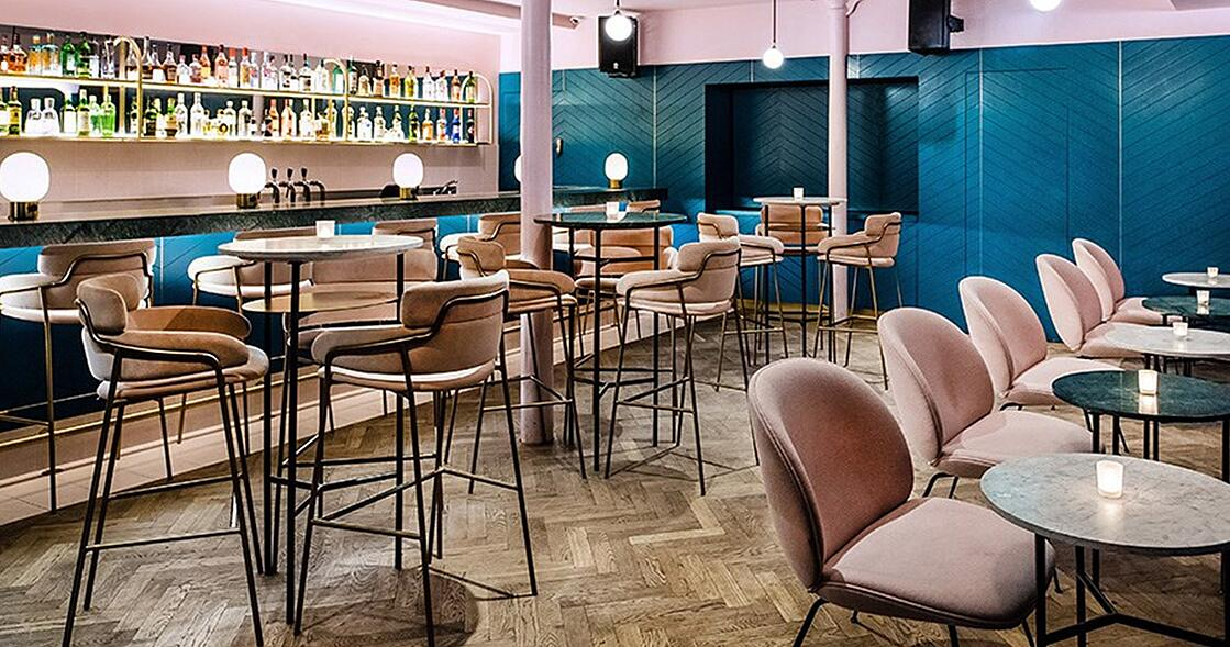 Pink Strike Barstools and Beetle Lounge Chairs in Clerkenwell Grind