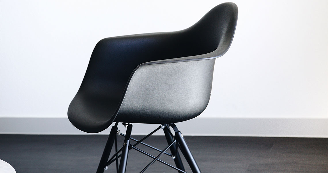 Classic design of an Eames chair in black