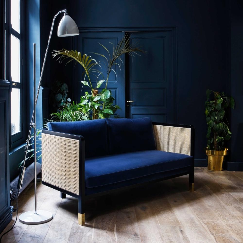 wicker sofa in blue