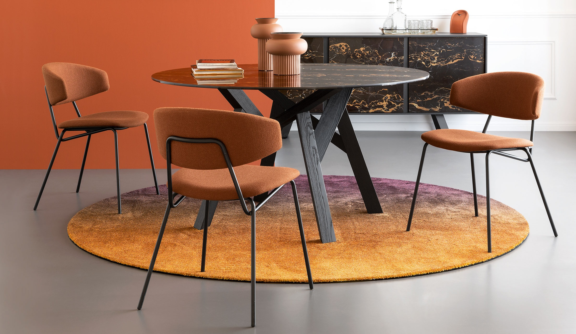 sophia dining chair in burnt orange upholstery