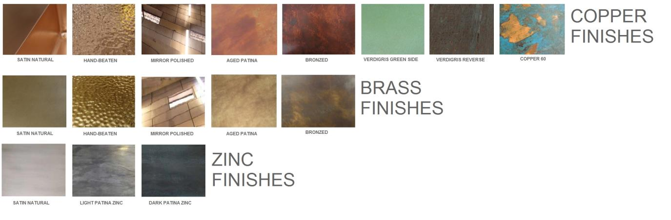 zinc brass metal finishes