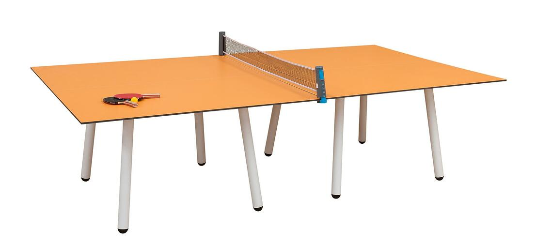 table tennis table, orange top