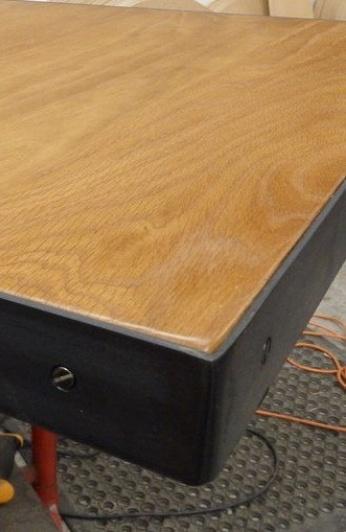 blackend metal edge table top