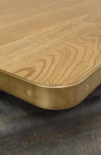 brass metal edge table top