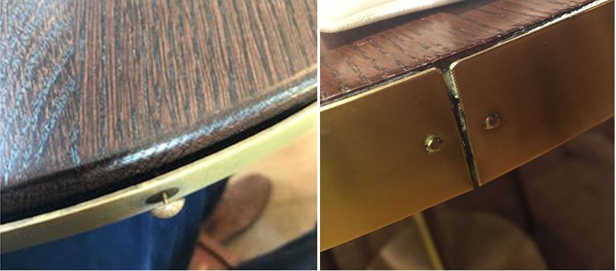 metal edge on solid wood table top