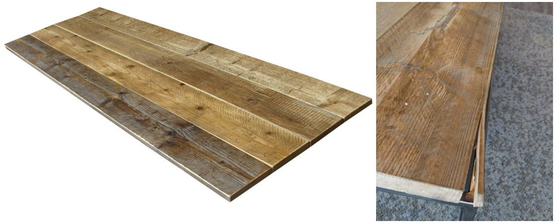 scaffold board table top from reclaimed wood and picture of split