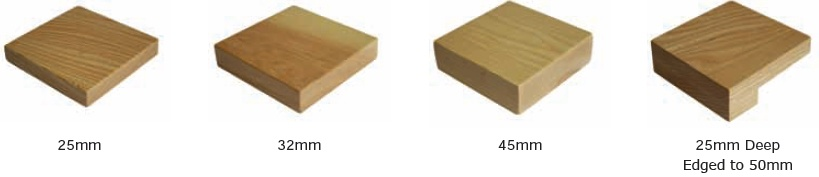 diagram showing different thicknesses of wooden table tops