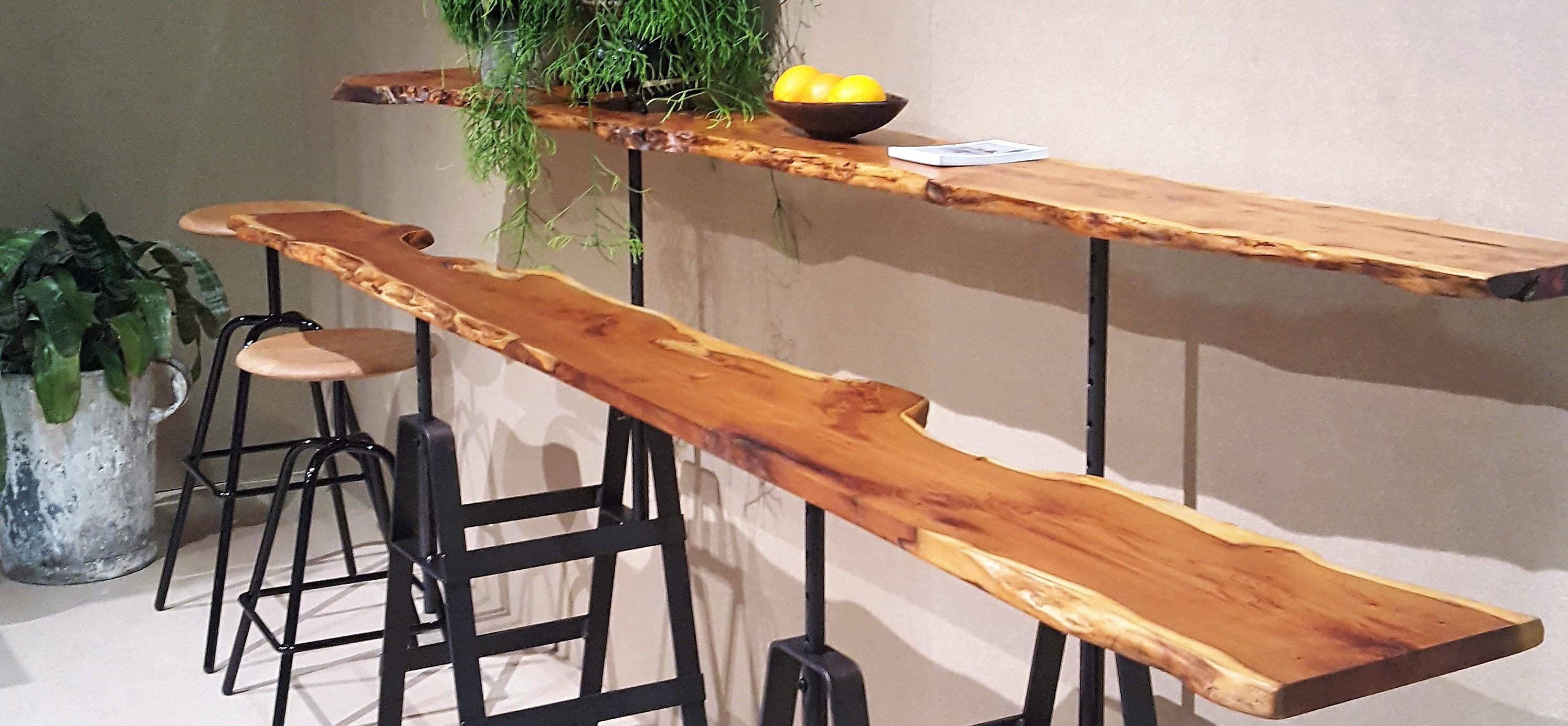 waney edge table tops on trestle base