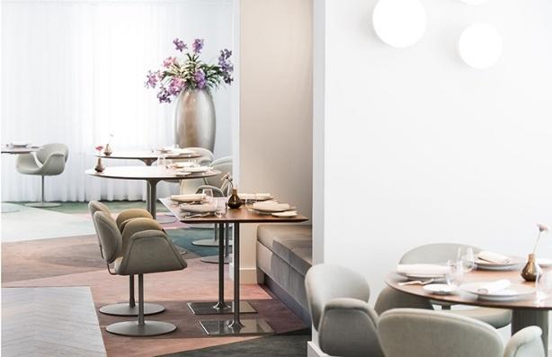 Tulip chairs in restaurant