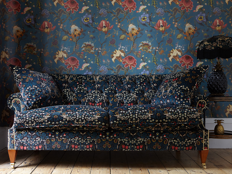 Photo of sofa displaying the Blackthorn velvet collection.