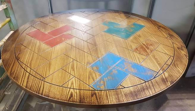ash-table-top-routed-parquet-detail