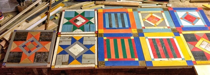 Bespoke wooden table tops in the style of American quilts
