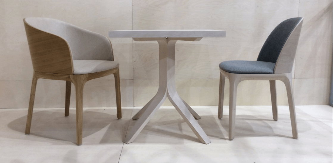 Fluxo table base with geometric shapes