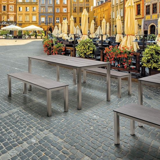 A photo of the Matias table and benches