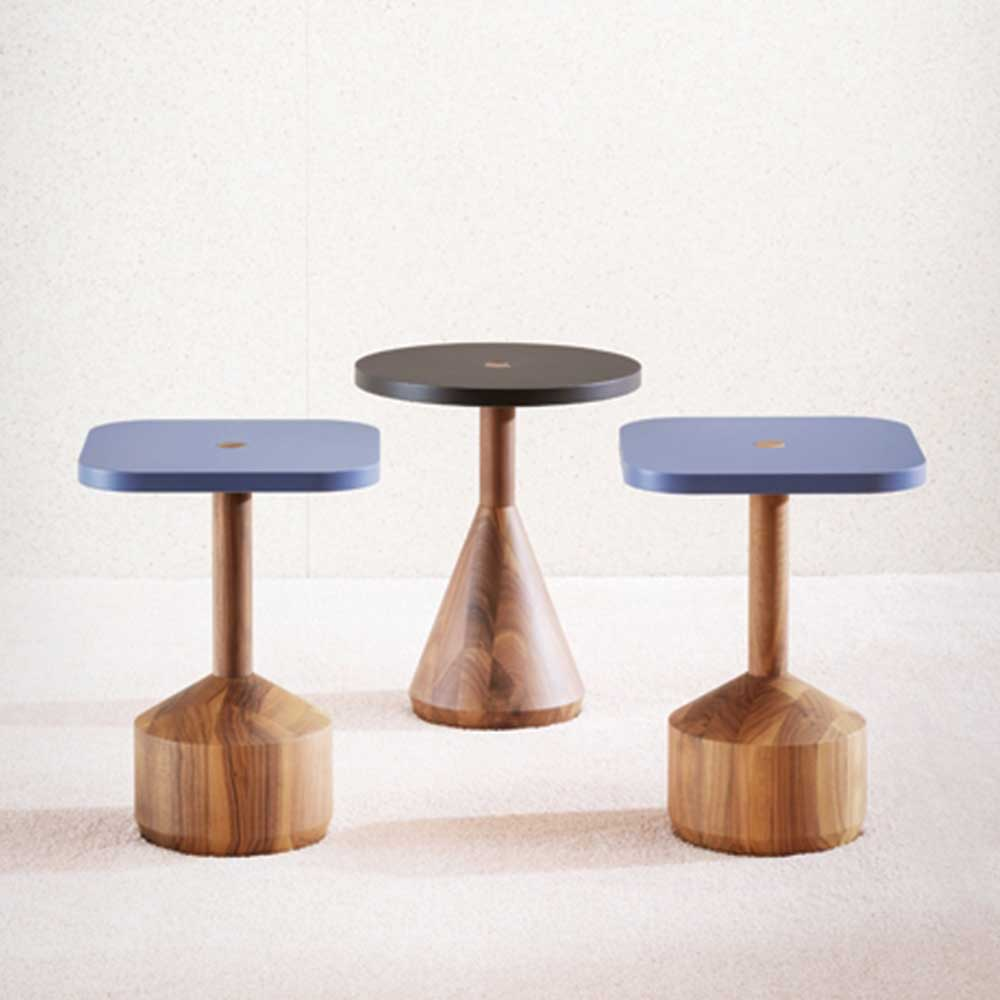 pezzo side tables with conical bases