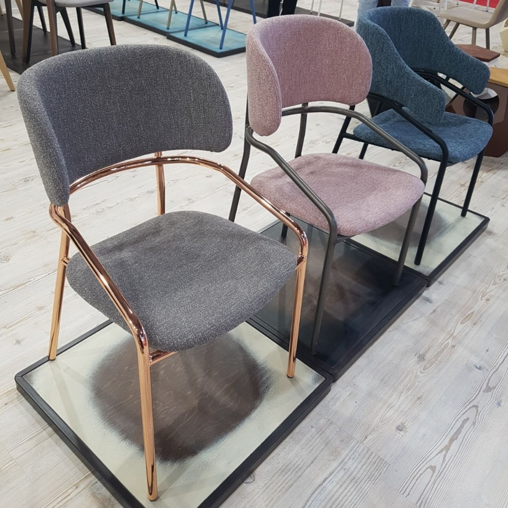 chairs with metal frame in Salone del Mobile