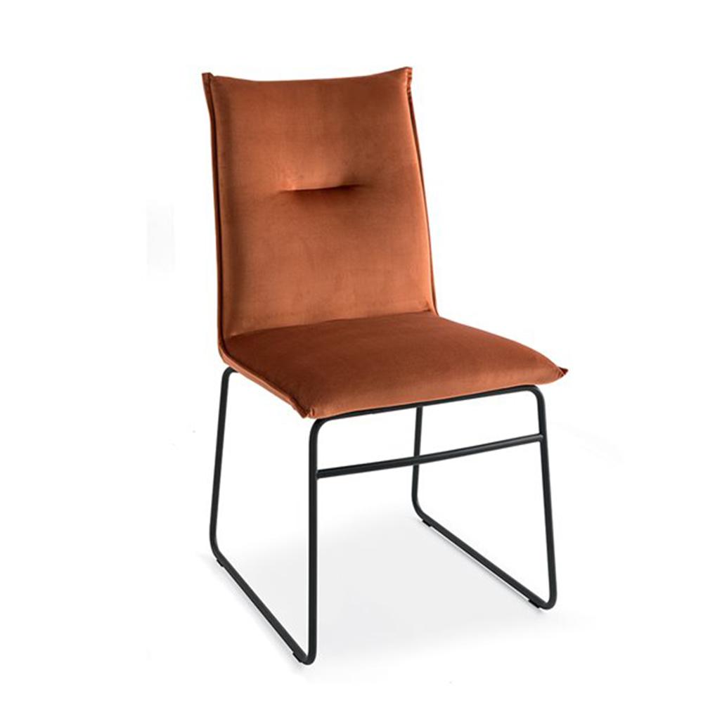 Maya side chair in burnt orange fabirc