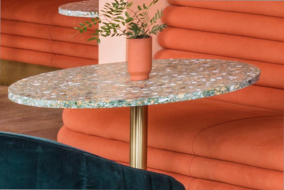 terrazzo table top sea green