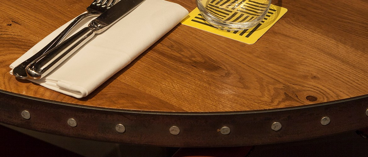 veneer oak table top with metal edge