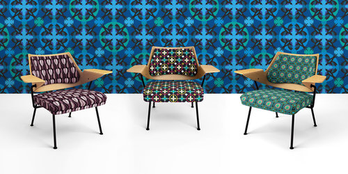 3 chairs displaying different patterns of the Patternistas range.