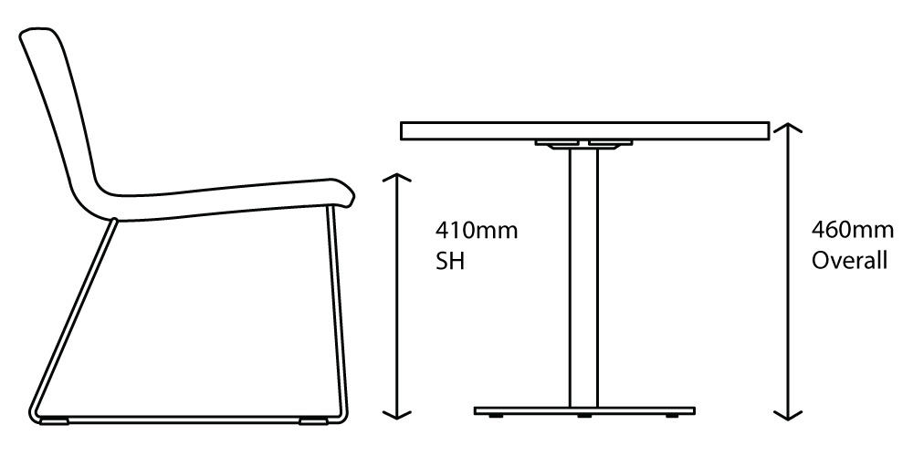 lounge table seat height diagram