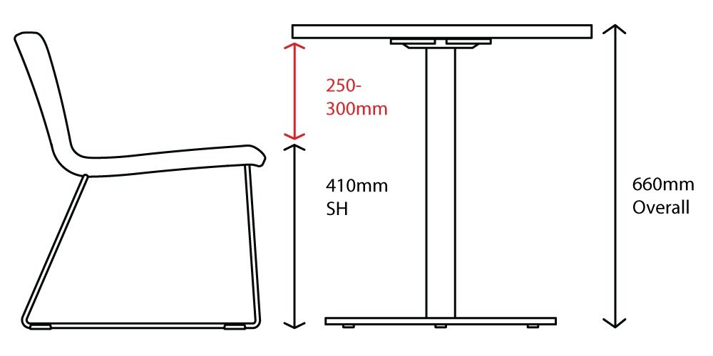 low dining table seat height diagram