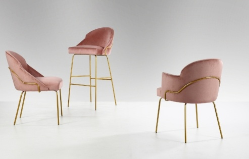 paris chairs with metal frame in pink velvet