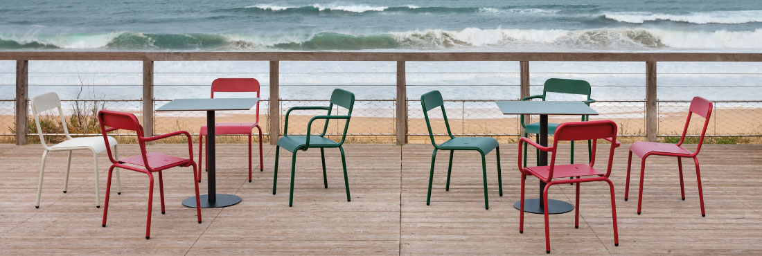 rimini chairs on the beach by the sea