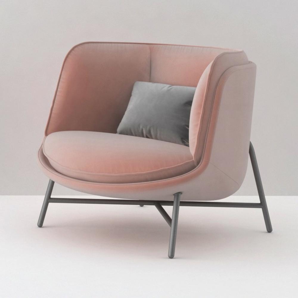 Moon lounge chair in pink velvet